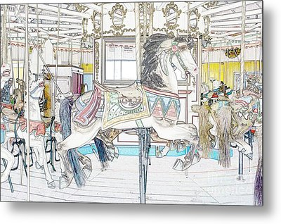 Coney Island Carousel Metal Print by Lilliana Mendez