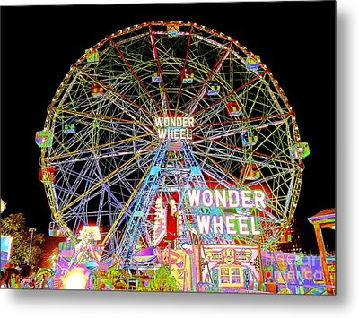 Coney Island's Famous Amusement Park And Wonder Wheel Metal Print