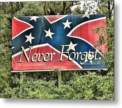 Confederate Flag In The Woods Metal Print by Patricia Greer