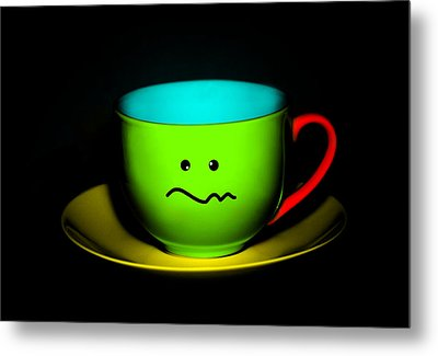 Confused Colorful Cup And Saucer Metal Print by Natalie Kinnear