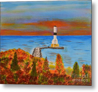 Fall, Conneaut Ohio Light House Metal Print