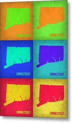 Connecticut Pop Art Map 1 Metal Print by Naxart Studio