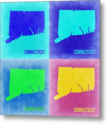 Connecticut Pop Art Map 2 Metal Print by Naxart Studio
