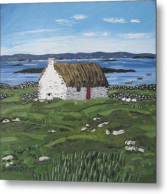 Connemara Thatched Cottage With Sheep Ireland Metal Print