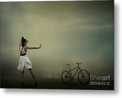 Metal Print featuring the pyrography Conqueror Of The Bike by Evgeniy Lankin