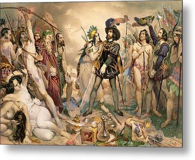 Conquest Of Mexico Hernando Cortes Destroying His Fleet At Vera Cruz Metal Print