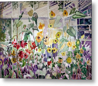 Conservatory Sunflowers Metal Print by Mindy Newman