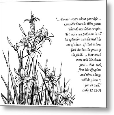 Metal Print featuring the drawing Consider How The Lilies Grow by Janet King