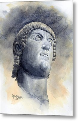 Constantine Bronze Head Metal Print by Maddy Swan