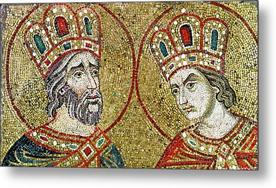 Constantine The Great 270-337 And St. Helena Mosaic Metal Print by Veneto-Byzantine School
