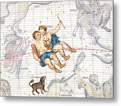 Constellation Of Gemini With Canis Minor Metal Print by Sir James Thornhill