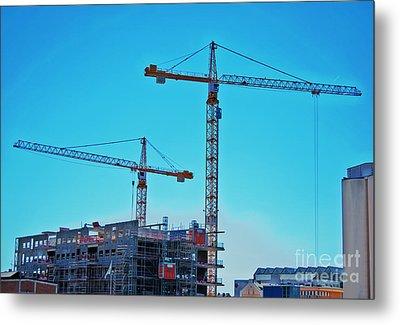 construction cranes HDR Metal Print by Antony McAulay