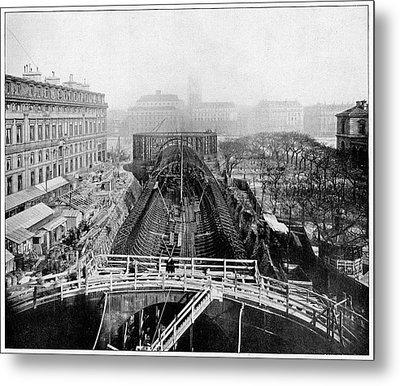 Construction Of The Paris Metro Metal Print