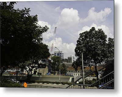 Construction Work Ongoing In Singapore Metal Print by Ashish Agarwal