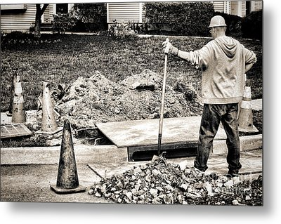 Construction Worker Metal Print by Olivier Le Queinec