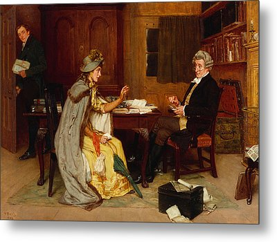 Consulting Her Lawyer Metal Print by Frank  Dadd