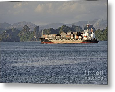 Container Ship In Halong Bay Metal Print