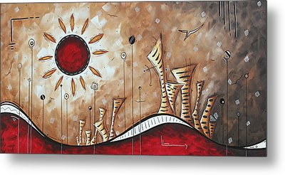 Contemporary Abstract Art Cityscape Original City Painting Where Our Paths Lead By Madart Metal Print