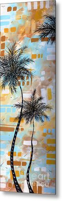 Contemporary Abstract Tropical Palm Tree Painting Colorful And Fun By Megan Duncanson Metal Print by Megan Duncanson