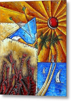 Contemporary Coastal Nautical Tropical Martin Art Original Sailboat Painting Ocean View By Madart Metal Print by Megan Duncanson