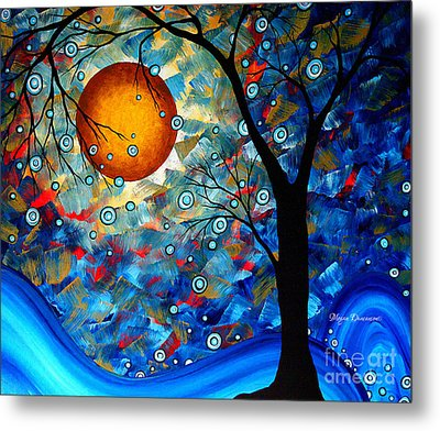 Contemporary Modern Art Original Abstract Landscape Painting Blue Essence By Megan Duncanson Metal Print