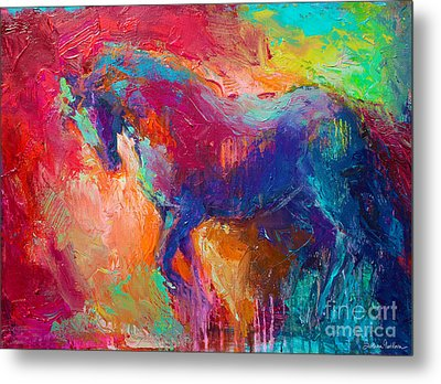 Contemporary Vibrant Horse Painting Metal Print by Svetlana Novikova