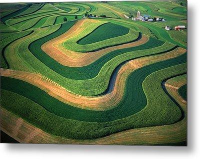 Contour Farm Art Aerial  Metal Print by Blair Seitz
