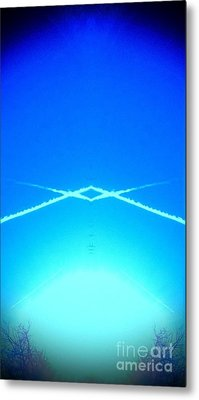 Contrail Pyramid  Metal Print by Karen Newell