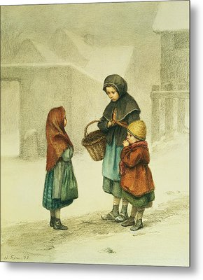 Conversation In The Snow Metal Print