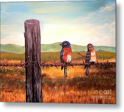 Conversation With A Fencepost Metal Print by Kimberlee Baxter