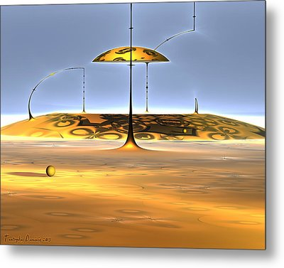 Conversations With Dali In The Mound. 2013 80/64 Cm. Metal Print by Tautvydas Davainis