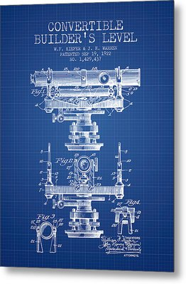 Convertible Builders Level Patent From 1922 -  Blueprint Metal Print