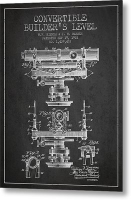 Convertible Builders Level Patent From 1922 -  Charcoal Metal Print
