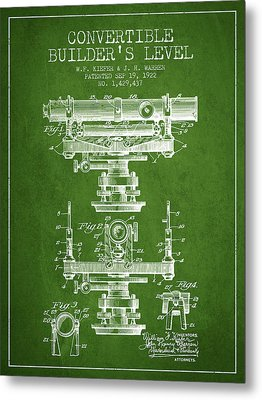 Convertible Builders Level Patent From 1922 -  Green Metal Print