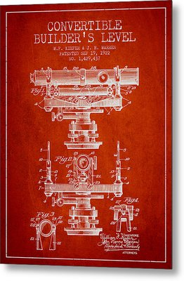 Convertible Builders Level Patent From 1922 -  Red Metal Print