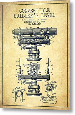 Convertible Builders Level Patent From 1922 -  Vintage Metal Print