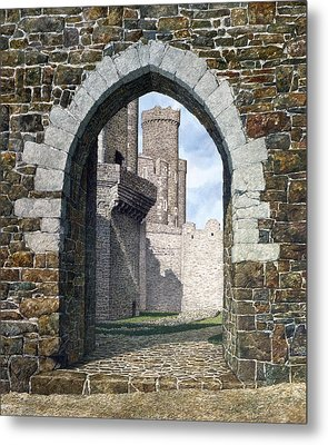 Metal Print featuring the painting Conwy Gate by Tom Wooldridge