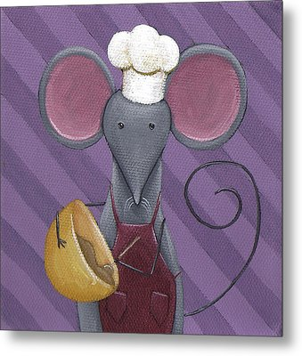 Cooking Mouse Kitchen Art Metal Print by Christy Beckwith