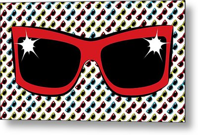 Cool 90's Sunglasses Red Metal Print by MM Anderson