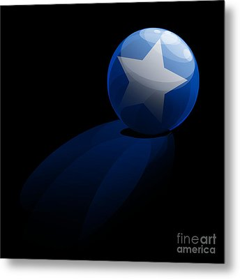 Blue Ball Decorated With Star Grass Black Background Metal Print by R Muirhead Art