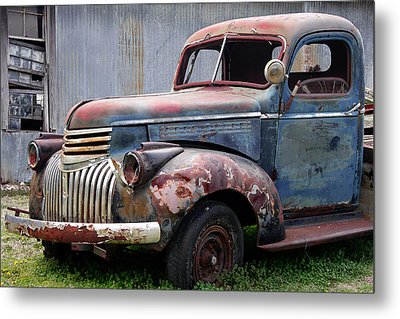 Metal Print featuring the photograph Cool Blue Chevy by Steven Bateson