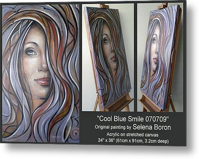 Metal Print featuring the painting Cool Blue Smile 070709 Comp by Selena Boron