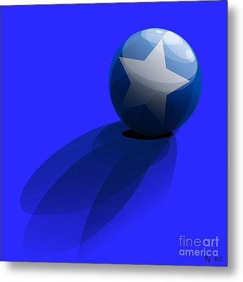 Blue Ball Decorated With Star Grass Blue Background Metal Print