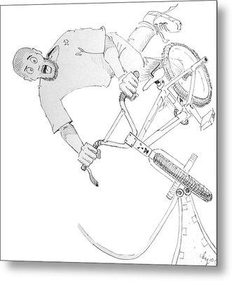 Cool Bmx Drawing Metal Print by Mike Jory