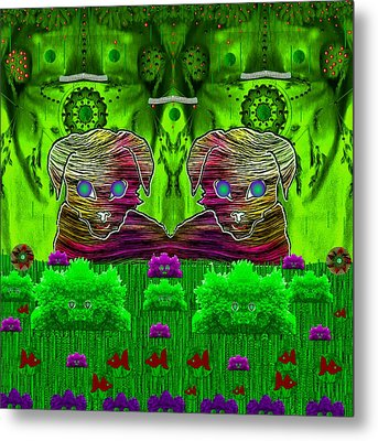 Cool Cats In Rainbow Style Metal Print