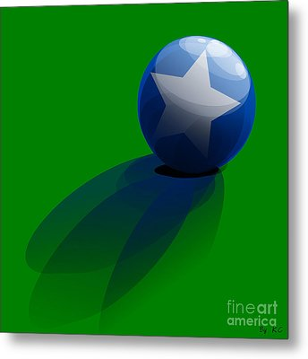 Blue Ball Decorated With Star Grass Green Background Metal Print