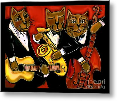Cool Jazz Cats Metal Print by Cynthia Snyder