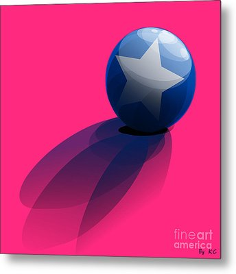 Blue Ball Decorated With Star Pink Background Metal Print