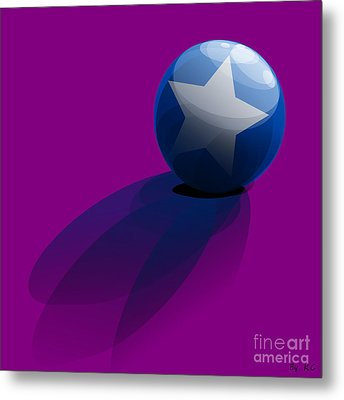Blue Ball Decorated With Star Purple Background Metal Print