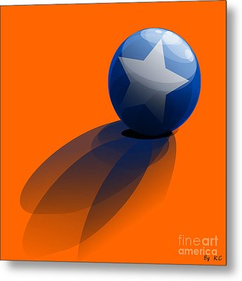 Blue Ball Decorated With Star Orange Background Metal Print